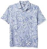 Van Heusen Big and Tall Air Tropical Short Sleeve Button Down Poly Rayon Shirt Camisa Abotonada, Colony Blue Leaf, L/Grande Alto para Hombre