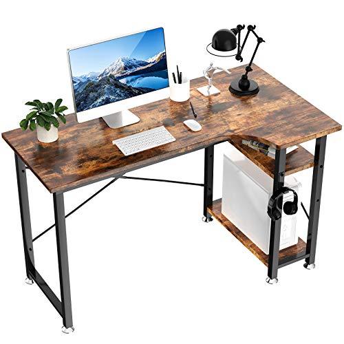 Writing Desk Modern L Shaped Computer Desk with Shelves 47'' Gaming Desk PC Laptop Study Table Industrial Workstation for Home Office(Vintage)