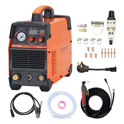 Warfox Plasma Cutter 120/240V Dual Voltage Plasma Cutting Machine, Max Cutting Thickness 14mm, Clean Cutting Thickness 10mm in 65PSI (CUT50D 120/240V)