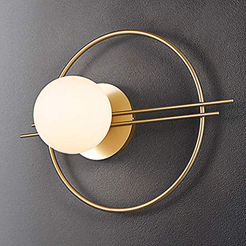 Modern Ring Wandlampe Gold Innen Schlafzimmer Nachttisch Wandleuchte, Metall Wand Lampe für Wohnzimmer Leuchte Arbeitszimmer Beleuchtung, aus Rund Glas Lampenschirm Nachtbeleuchtung, G9-Fassung L40cm