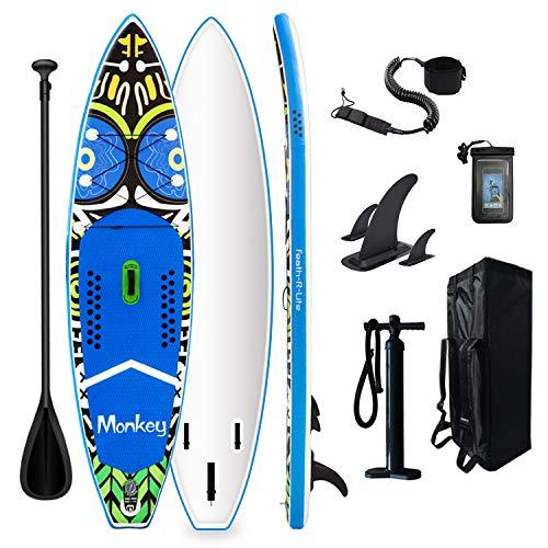 FunWater Tabla de surf de remo hinchable de 335 x 84 x 15 cm, accesorios completos, remo ajustable, bomba, mochila de viaje, correa, bolsa impermeable, capacidad de carga de hasta 150 kg