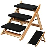 Yaheetech 2-in-1 Folding Pet Stairs Steps Ramp for Large/Small Dogs/Cats Wooden 3 Steps Pet Access Stairs/Ladders