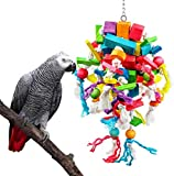 Acidea Parrot Chewing Toys Extra Large Wooden Blocks Nibbling Keeps Beaks Trimmed Attract Pet's Attention for Large Medium Parrots and Birds Parakeet Macaws African Greys and Conures