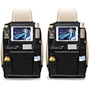 """BANNIO Car Backseat Organizer,(2 Pack) Car Back Seat Storage Organizer, Kick Mat Seat Protector with 11"""" Tablet Holder for Kids Toddlers,8 Storage Pockets,Travel Accessories,Black"""