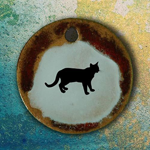 Echtes Kunsthandwerk: Toller Keramik Anhänger mit einer Katze; Katzenbesitzer, Geschenk,...