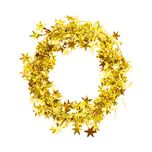 Nicejoy 7.5m Shiny Christmas Tinsel Garlands Wreaths Decoration Gold Tinsel Stars Decor for Festivals Party Christmas Home Decor.