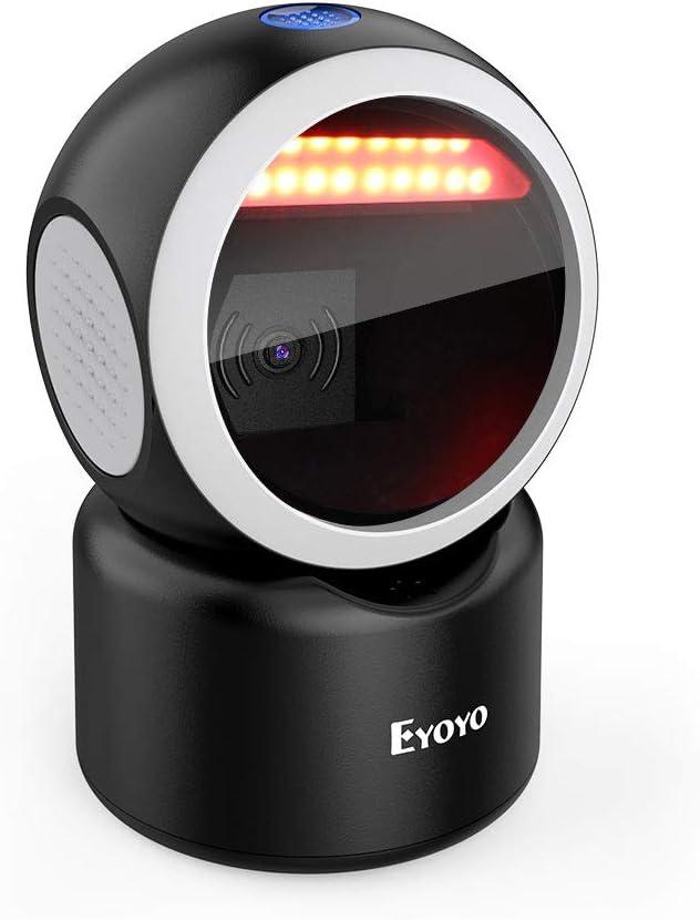 Eyoyo 2D Escáner de Código de Barras de Escritorio, 1D QR Lector de Código de Barras Omnidireccional Manos Libres con Detección Automática Admite Escaneo de Pantalla para POS PC