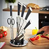Harivar Mart™ Stainless Steel Kitchen Knife Set with Rotating Black Stand & 7 Piece Professional...