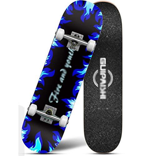 MISS YOU Skateboard Vierrädrigen Skateboard Kinder Jugend Anfänger professionelle männliche Erwachsene Mädchen Doppel Rock Straße Roller 6-12 Jahre alt (Color : A)