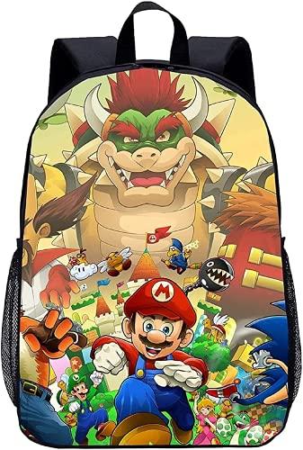 Super Mario Bros backpack-16 pollici zaino per la scuola con motivo anime, adatto per ragazzi e ragazze., Mario8., 13 Zoll (Kindergarten),