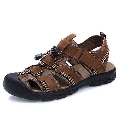 YANGFAN Zapatos de Cuero, Zapatos Casuales, Trabajo, al ai Sandalias para Hombre, Playa de Verano Cuero de Vaca Transpirable, Velcro Feet MAX 48 (Color : Light Brown, Size : 45 EU)