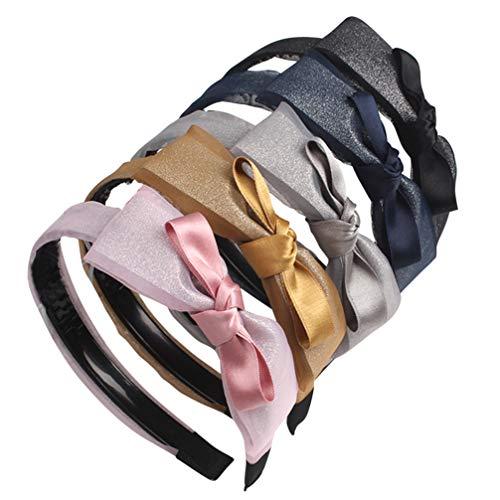 TOYANDONA 5 Stück Chiffon Stirnband Glitzer Spitze Breite Ordnung Bowknot Haar Reifen Kopfstück Foto Requisiten mit Zähnen für Make-Up-Party (5 Farben)