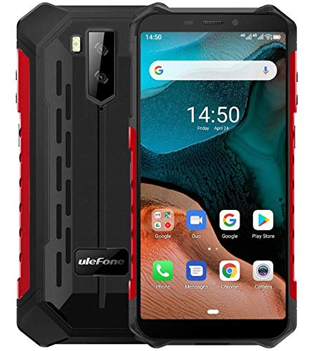 "Ulefone Armor X5【2020】– Android 10 4G Outdoor Smartphone Ohne Vertrag, Octa-Core 3GB RAM 32GB ROM, 5.5"" IP68 / IP69K Robustes Handy, Dual-SIM, 13MP + 5MP + 2MP, 5000 mAh Akku, GPS WiFi NFC Rot"