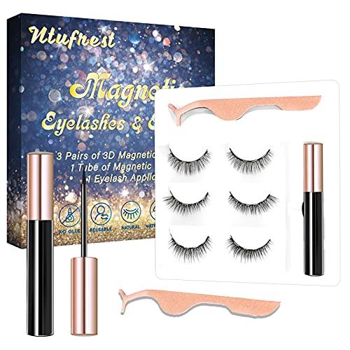 Ntufrest Magnetic Eyelashes and Eyeliner,3 Pairs Magnetic Eyelashes,Natural Looking False Magnetic Eyelashes,Soft and Comfortable,Longtime Lasting