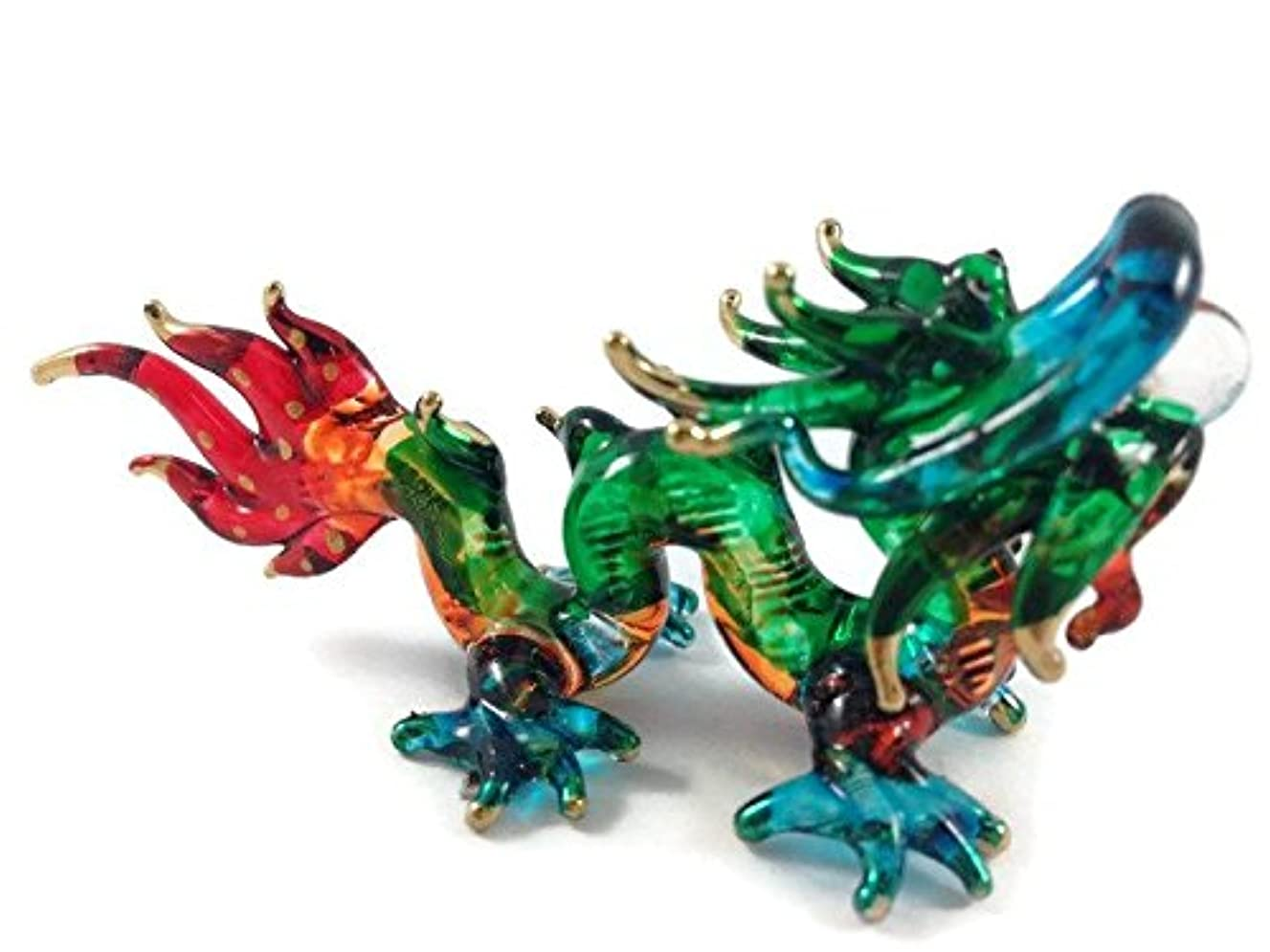 TINY CRYSTAL Dragon HAND BLOWN CLEAR GLASS ART Dragon FIGURINE ANIMALS COLLECTION GLASS BLOWN