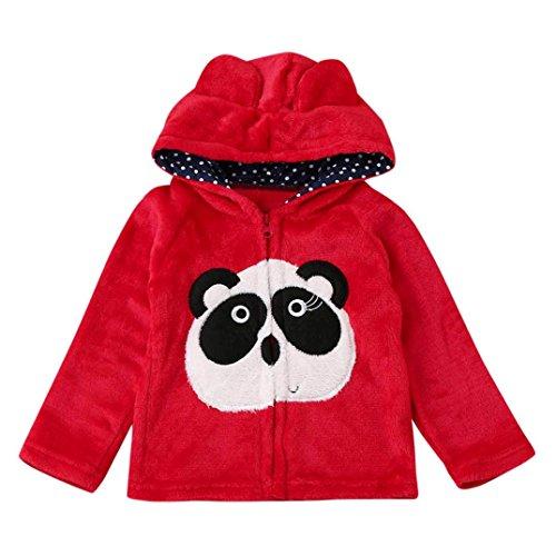Hirolan Babyjacken übergangsjacke Mädchen Baby Säugling Kinder Jungen Mädchen Niedlich Karikatur Tier Mit Kapuze Mantel Weich Mantel Tops Warm Kleider Herbst Oberbekleidung (90cm, Rot)