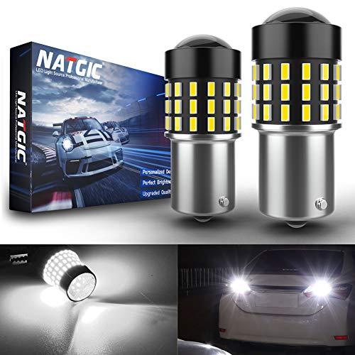 NATGIC 1156 BA15S P21W 7506 Bombillas LED Chipsets 3014SMD 54-EX con proyector de Lente para Luces de Marcha atrás con Freno de Respaldo, Xenón Blanco 12-24V (Paquete de 2)