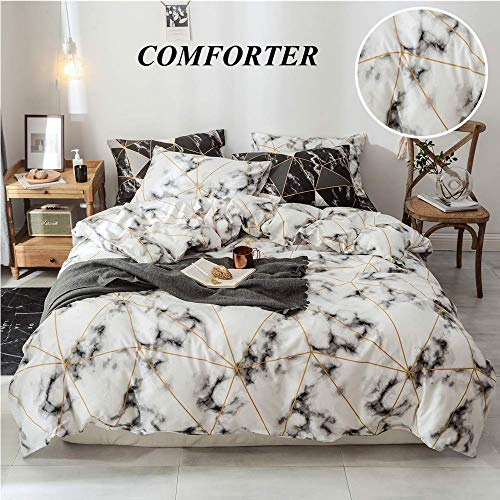 CLOTHKNOW White Comforter Set Queen Cotton Marble Geometric Bedding Sets Full Girls Teen Women Men Plaid Quilt Set Modern Triangle Abstract Pattern Bedding Comforter Sets with 2 Pillowcases