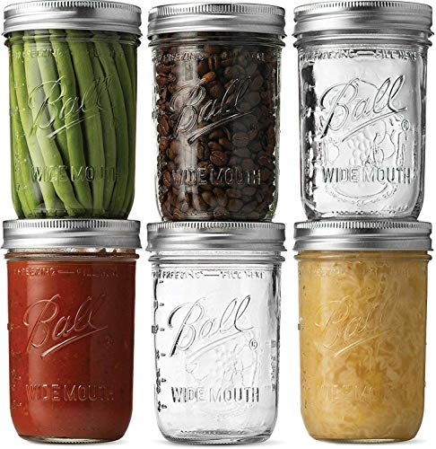 Ball Wide Mouth Mason Jars (16 oz/Capacity) [6 Pack] with Airtight lids and Bands.