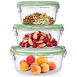 Home Fleek - Set de 3 Envases de Vidrio Circular para Alimentos | Recipientes Herméticos de Cristal Para La Cocina | Apto para Lavavajilla, Horno, Microondas, Congelador | Sin BPA (Verde, Set de 3)