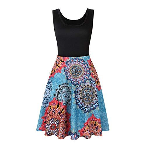 Janly Clearance Sale Vestidos para mujer, vestido estampado de verano, playa, cuello redondo, sin mangas, vestido de falda grande, estampado sin mangas, para fiesta diaria de boda (azul-XL)