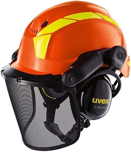 Uvex Pheos Forestry - Casco Forestal con protección auditiva y Facial (SNR: 30 dB), Color Naranja
