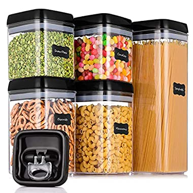 ME.FAN Large Airtight Food Storage Container Set [5-Piece Set] - Pantry Durable Seal Pot - Cereal Storage Containers - For Dry Foods & Liquids - BPA Free - Clear Containers with Black Lids