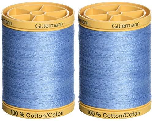 Gutermann 2-Pack - Natural Cotton Thread Solids 876 Yards Each - Carolina Blue