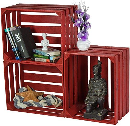 LAUBLUST 3er Set Sehr Große Vintage Holzkisten - 50x40x30cm, Rot Lackiert, Neu, Unbenutzt | Möbel-Kiste | Wein-Kiste | Obst-Kiste | Apfel-Kiste | Deko-Kiste aus Holz