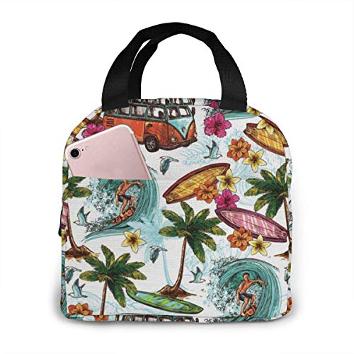 TTmom Hawaiian Surfer Neoprene Lunch Bag Insulated Lunch Box Lightweight Waterproof Lunch Tote Cooler Bags with Zip Closure for Women Men and Kids