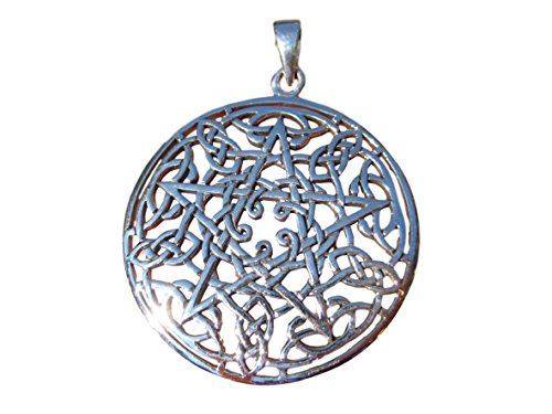 Himalayan Treasures 925 Large Sterling Silver Celtic Pentacle Pentagram Pendant Necklace Wicca Magic A46