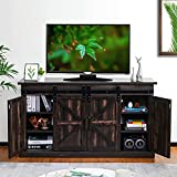 """TURBRO Fireside FS58 TV Stand, Supports TVs up to 65"""", with Farmhouse Style Sliding Barn Door, Entertainment Center and Adjustable Shelves for Living Room Storage, Rustic Brown"""