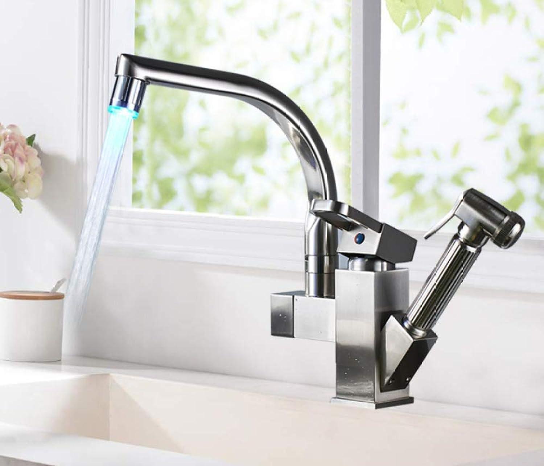 SLTYSCF wasserhahn Nickel gebürstet Küchenarmatur Led-Lichtauslauf Ziehen Sprühkopf Deck Montiert Warmwasserhahn für Küche LED-Lichtauslauf