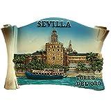 Imán para nevera con diseño de Sevilla, España, Europa, Ciudad del Mundo, resina, 3D, ideal como regalo turístico, imán chino hecho a mano, creativo, decoración para el hogar y la cocina (Style3)