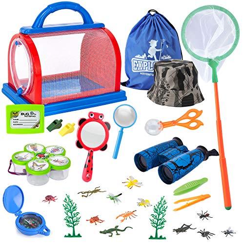 Draussen Forscherset Spielzeug, Bug Catcher Kit 27 Stück mit Kinder fernglas, Schmetterlingsnetz, Kompass Lupe, Insect Critter Käfig, Pinzette, Adventurer Set Geschenke für 3-10 Jahre Junge Spielzeug