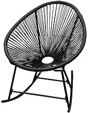 vidaXL – Silla de jardín, mecedora, silla oscilante, sillón de mimbre sintético, negro/blanco
