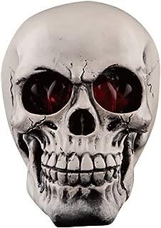 Fan-Ling Halloween Skull Model,Halloween Decorations Resin Wacky Funny Novelty Skull Toys,Fake Skull Party Prop,Halloween Decoration Toy Funny Spoof Light LED Eye Ghost Scary Terror Skull Prop (A)