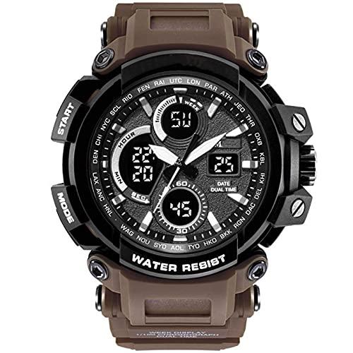 Reloj Digital para Hombres Personalidad Impermeable PERSONALIZACIÓN Big DIAL Montañismo Natación Luminosa Trend Men's Watch Brown
