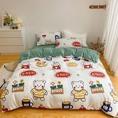 Juego de ropa de cama con funda de edredón-Winter plus velvet velvet cama doble individual funda nórdica individual funda de almohada regalo juego de cama de terciopelo de cristal de 4-K_Colcha de 1,