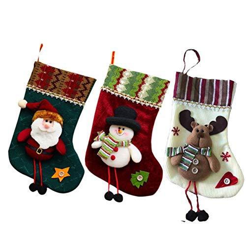 ganjue 3 Stücke Jahr Decor Weihnachtsstrümpfe Socken Plaid Weihnachtsmann Süßigkeiten Geschenktüte Weihnachtsbaum Hängen Ornament Dekoration Für Home24 * 14 cm