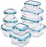 KICHLY [18-Pieces] Glass Food Storage Containers with Lids - Glass Meal Prep Containers