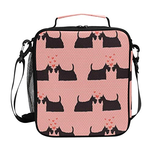 FAKAINU Premium Quality Thermal Cooler Lunch Bag Padded Insulated Liner Animals Romance Couple In Love With Hearts On Pink Polka Dotted Lunch Container Tote Bag with Adjustable Shoulder Strap