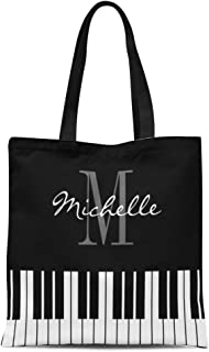 Ablitt Tote Bag Shoulder Bags Canvas Music Piano Keys for Pianist Teacher Monogram Personalized Player Grocery bag Women's Handle Shoulder Tote Shopper Handbag