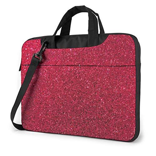 Red Glitter Sequins Laptop Shoulder Messenger Bag, Laptop Sleeve Case with Strap 15.6 Inch