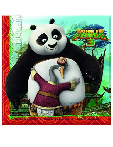 COOLMP – Lote de 3 servilletas de papel Kung Fu Panda 3, 33 x 33 cm, tamaño único – Decoración y accesorios de fiesta, animación festiva, cumpleaños, boda, evento, juguete, Cotillon