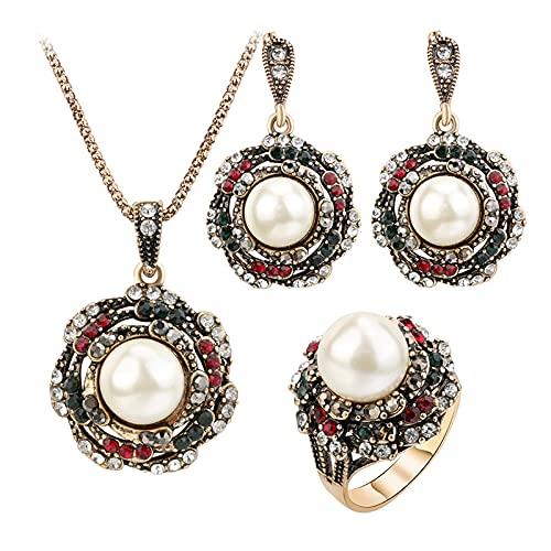 KUNHAN Juegos de Joyas Mujer Conjuntos de Joyas de Las Perlas de imitación de 3 unids para Las Mujeres Antique Gold Crystal Body Necklace Pendientes Anillo Joyería turca-3 Piezas_9