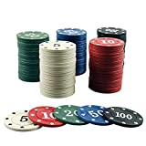 Beesuya KiGoing Fiches da Poker 100PCS, Gettoni da Gioco di Intrattenimento Carte da Gioco Accessori con Chip Digitali Scatola di Plastica Trasparente Excellent