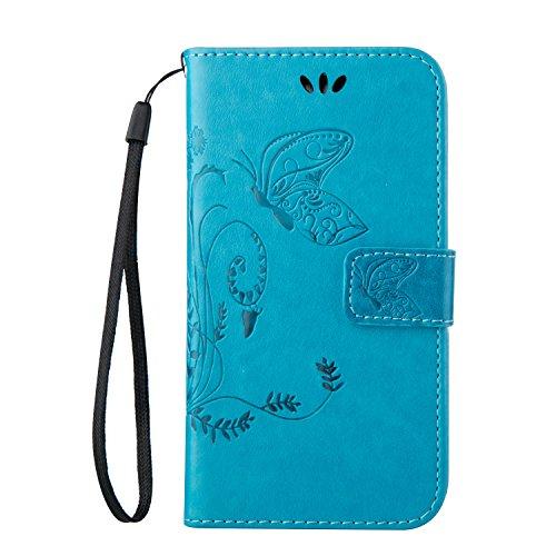 ISAKEN Compatibile con Samsung Galaxy Ace 4 SM-G313 Custodia, Farfalla Design in Pelle PU Cover Flip Portafoglio Case con Supporto di Stand/Strap/Carte Slot/Chiusura - Farfalla: Blu