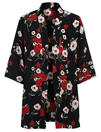 COOFANDY Mens Kimono Cardigan Floral Print Casual Lightweight Long Length Cape