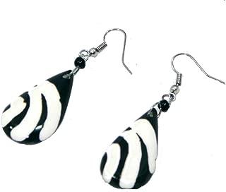 Black and White African Zebra Print Oval Leaf Shaped Bone Earrings